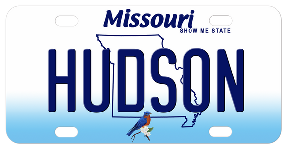 Missouri State Outline with Bluebird personalized mini bike plates with any name in the center