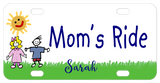 Cute cartoon drawing of 2 kids standing on the grass with a sunshine that has a smiley face. Plate Says Mom's Ride in center in a kids font and the name Sarah on bottom. You can personalized with any text instead.
