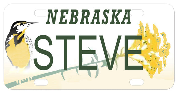 Nebraska License Plate with Meadowlark and Goldenrod personalized with any name
