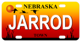 Nebraska Sunset mini bike plate with any custom text in the center and on bottom