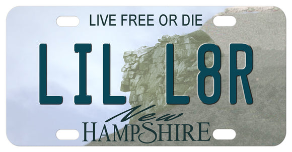 New Hampshire, mini license tag with face in mountain in the center of the plate