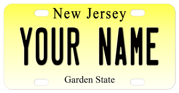 New Jersey License Plate Gradient Yellow Background New Jersey on top Garden State on bottom Personalized with any text in center.