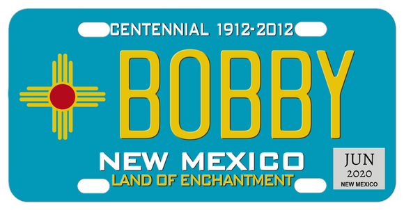 New Mexico 1912-2012 Centennial License plate in blue with zia sun symbol and any name