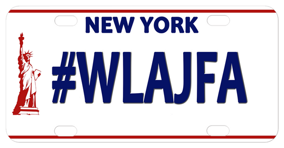 The NY Liberty Plate has a red line on top and bottom with lady liberty on the left. New York is on top between the two holes leaving both the center and bottom area open for your personalized text.