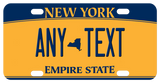 NY Empire gold novelty plate with state icon in center of text indicated by -- (double dash)
