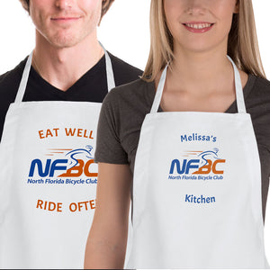 Man & Woman Wearing Aprons with NFBC logo each with different personalized text above and below the logo