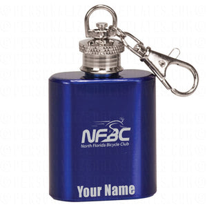 Blue Flask Key Ring with NFBC Logo and Name
