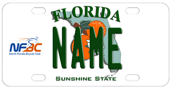 Florida License Plate with North Florida Bicycle Club Logo