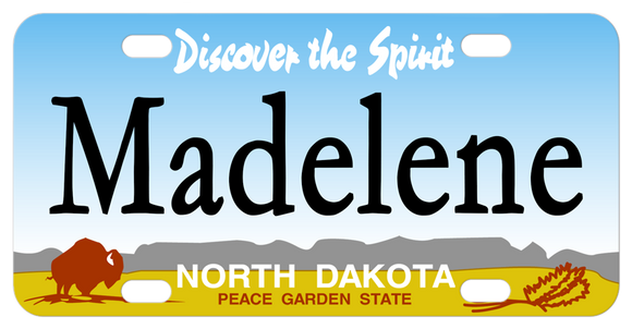 Discover the Spirit personalized mini bike plates for North Dakota. Custom printed with any name in the center