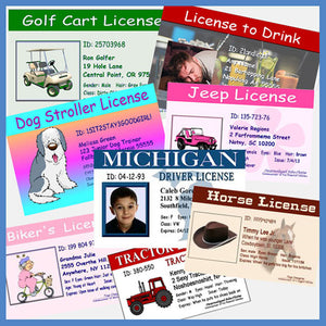 Personalized novelty joke licenses for adults and fake drivers licenses for kids.