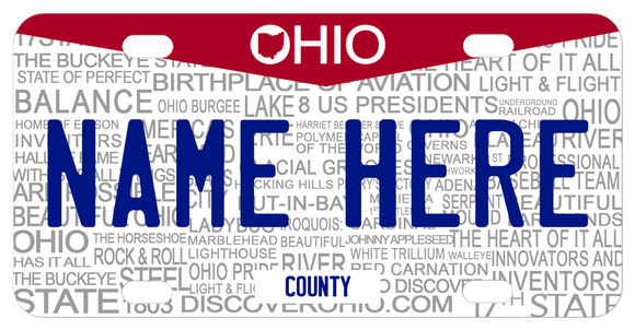 Ohio Word Art with watermark words about Ohio and your name and additional text personalized
