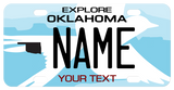 custom mini bike plate for Oklahoma with flycatcher bird and your name and custom text