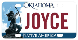 Oklahoma mini license plate inspired by Native American Rain Arrow Statue personalized with any name