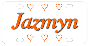 Three open hearts on top and bottom with name in center  shown in orange with black drop shadow.