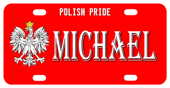 Polish Eagle on red background with top text and center name