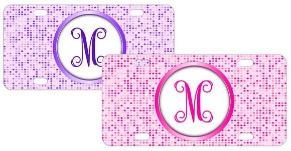 Polka Dot Monogram Personalized Mini License Plate