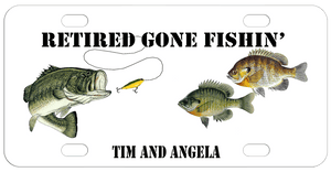 Retired Gone Fishin' on top a Bass with a lure near its mouth and two other fish on the right.  Any names or text on the bottom