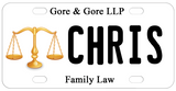 Gold Even Scales depicting the scales of justice personalized bike plate with any personalized text