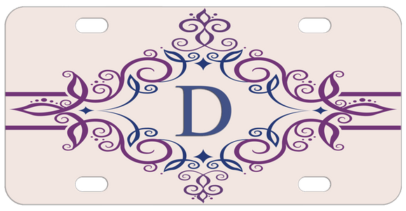 victorian style swirly frame around your initials on a custom bike license plate or desk name tag
