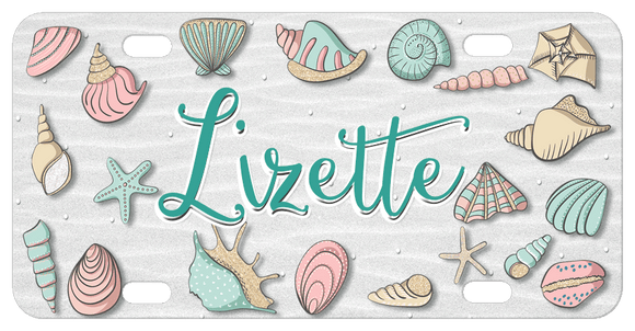 Pretty Cartoon Sea Shells in soft pinks, mauves and tan colors all around the border of the plate with any name or text in center.