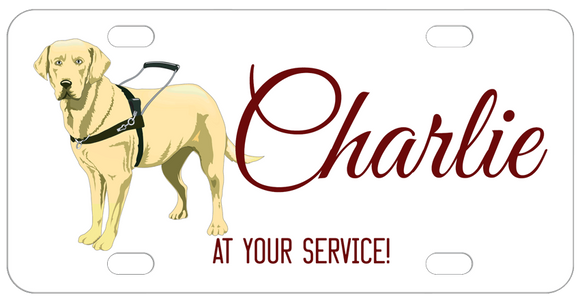 Labrador Retriever Service Dog illustration personalized with any name in the center and also can be personalized on top and bottom
