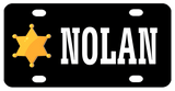 Black background plate with gold sheriff's star on left and name (shown in white) in center