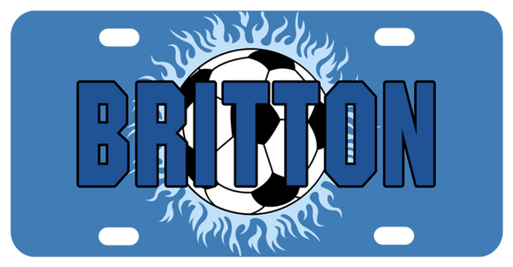 Personalized Soccer Theme License Plate with soccer ball on cool blue flames and a blue background. Any name personalized in the center of the plate