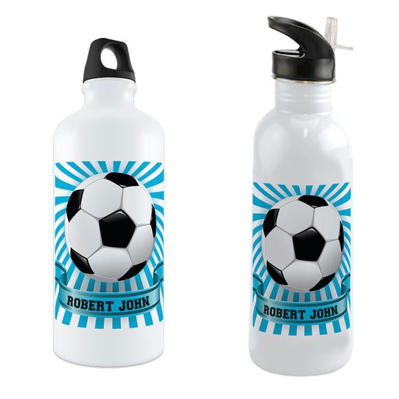 Soccer ball in a blue and white sunburst background with any name in a stylish banner on your choice of water bottle