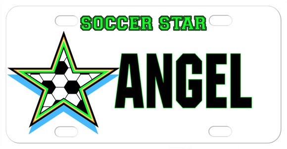 Personalized mini license plate with soccer ball in a star and any custom text
