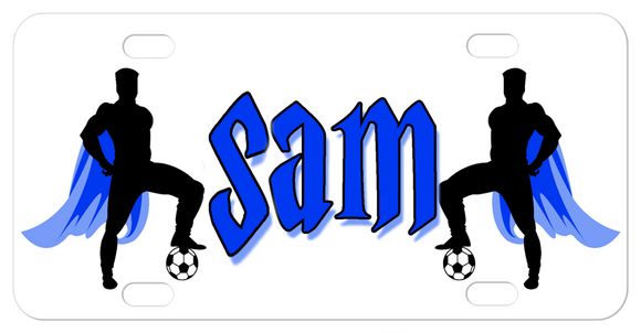 Soccer Theme Super Heroes with cape with their foot on the soccer ball on a custom license plate personalized with a name