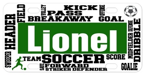 Soccer words artfully placed on a custom license plate personalized with any name