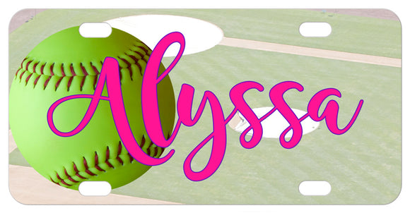 Green Softball personalized bike plate with diamond backdrop and any name or custom text.