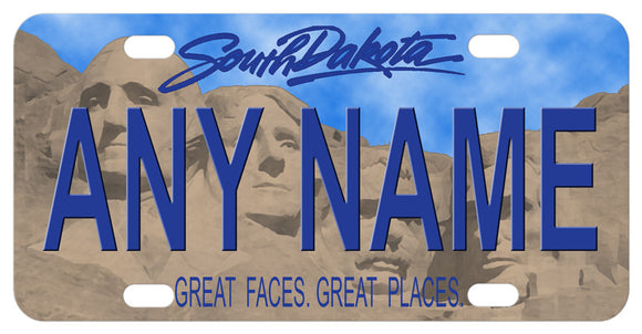 South Dakota 2016 version of the Mt. Rushmore mini personalized name tag with blue sky and concrete looking faces