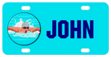 Male competitive swimmer in a circle with any name personalized on a blue license plate
