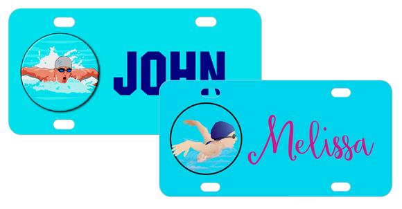 choose from male or female swimmer on a custom license plate for swim team swimmers.
