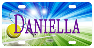 Tennis Court and Net with exciting rays of blue and green and personalized with any name on a license plate