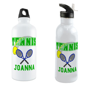 Tennis Ball Swoosh Design and Crossed Rackets personalized with any name on your choice of water bottle styles