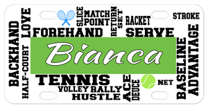 Tennis Terms randomly placed on a custom license plate with any name in the center