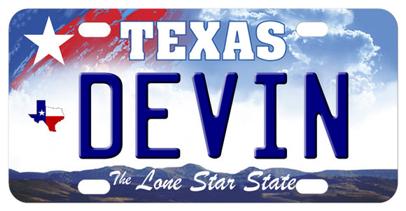Texas Sky License Plate with Red White and Blue State on left below big star above personalized with any name in center