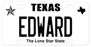 Texas Star Black and White Plate with Name in Center and state icon in top right