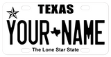 Texas Black and White Plate with State icon in between text in center