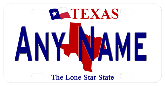 Texas State Silhouette in Red behind any name or custom text. Flag on top with Texas and Lone Star State on bottom