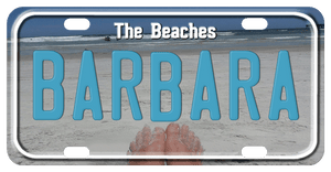 Beach Shoreline and sandy toes showing on the bottom of the plate. Any Text on top and center