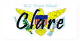 Us Virgin Islands text on top, Eagle holding leaf and arrows in background over eagle image