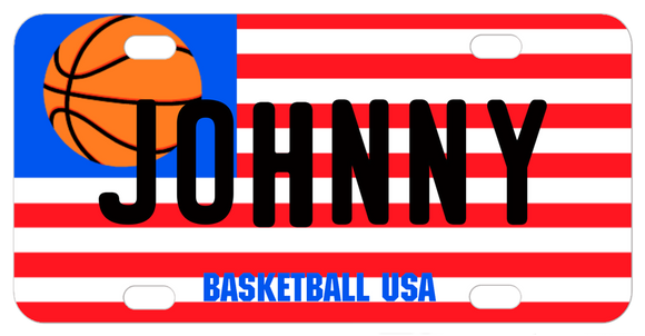 USA flag where a basketball takes the place of the stars. Personalized with any name or custom text