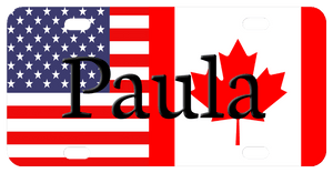 USA and Canada Flags, Bike Plate with any name in center.  You can use the additional info box to request text added to the top and bottom too.