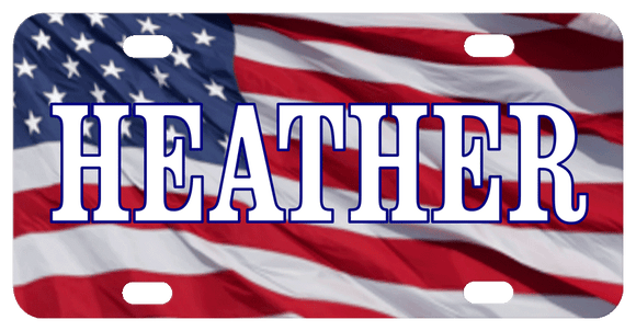 USA Flag Personalized Bike Plate