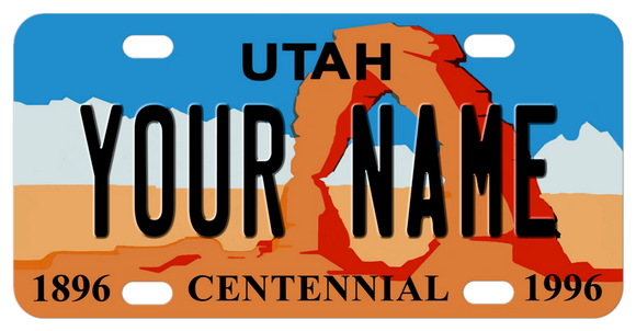 Utah Arch license plate personalized with any name in the center.