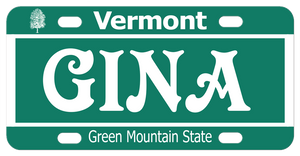 Basic Green and White Vermont mini license plate personalized with your name or custom text.