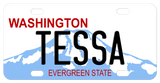 Washington State Mt Rainier mini replica bike plate with Washington below the hole on the left of the plate. Realize this version leaves less room for the name
